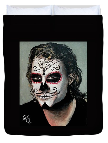 Day Of The Dead - Heath Ledger Duvet Cover by Tom Carlton