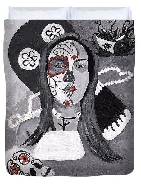 Day Of The Dead Duvet Cover by Reba Baptist
