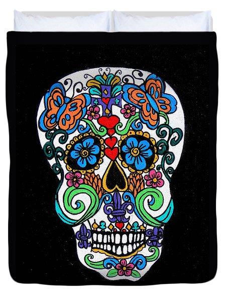 Day Of The Dead Skull Duvet Cover