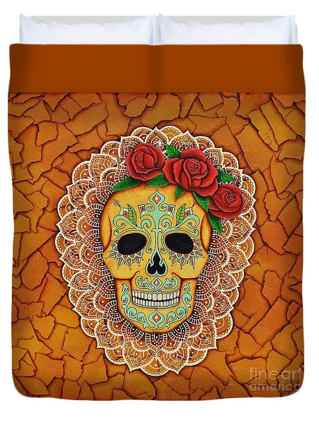 Day Of The Dead With Roses And Lace Duvet Cover by Joseph Sonday