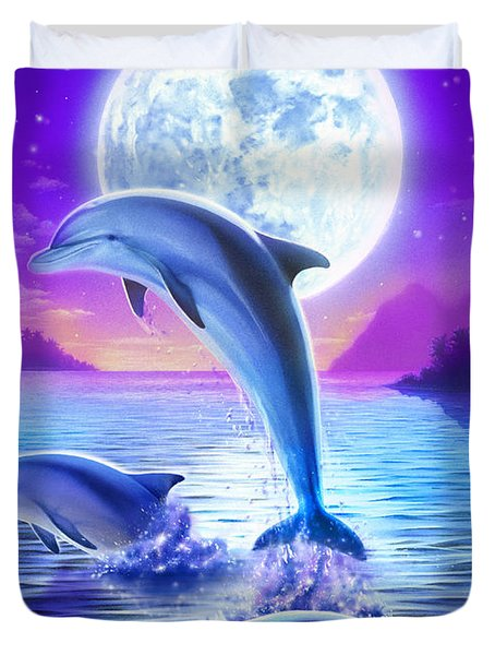 Day Of The Dolphin Duvet Cover by Robin Koni
