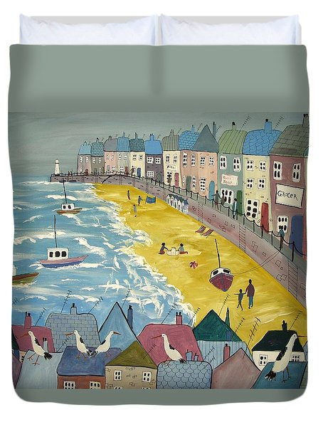 Day On The Beach Duvet Cover by Trudy Kepke