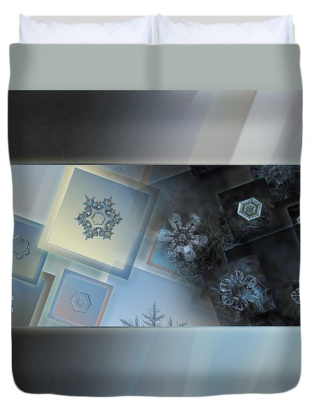 Duvet Cover featuring the photograph Snowflake Collage - Daybreak by Alexey Kljatov
