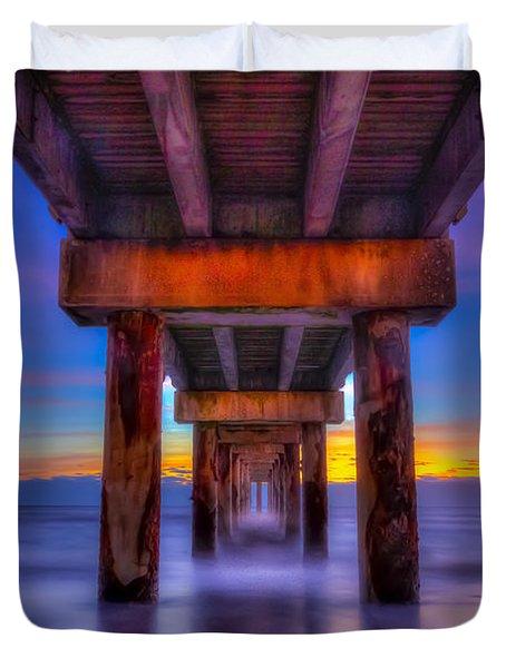 Daybreak At The Pier Duvet Cover
