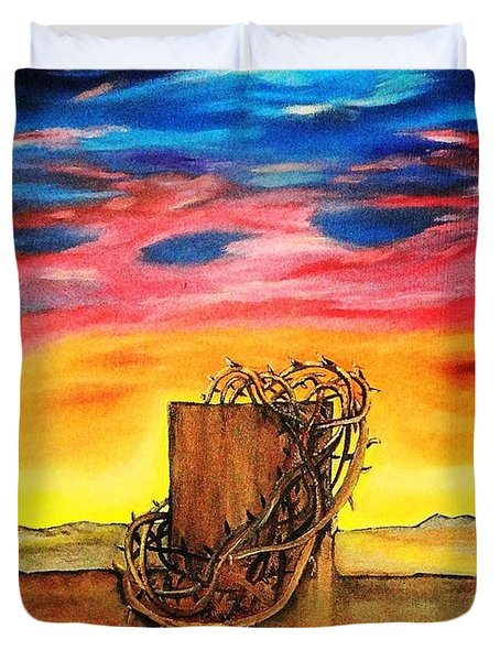 Duvet Cover featuring the painting Daybreak On Golgotha by Lisa Brandel