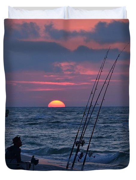 Daybreak On Navarre Beach With Deng The Fisherman Duvet Cover by Jeff at JSJ Photography