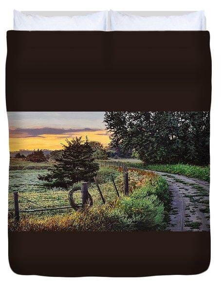 Daybreak Southwest Corner Fenceline Duvet Cover