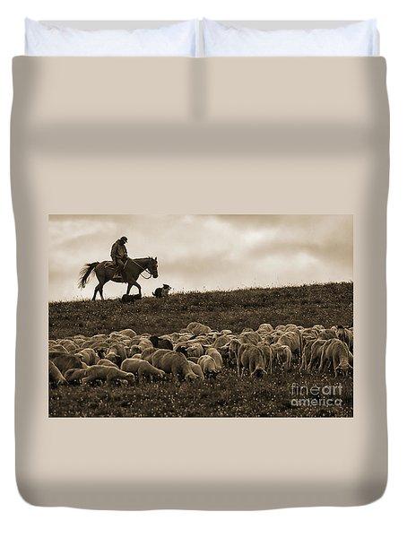 Days End Sheep Herding Duvet Cover