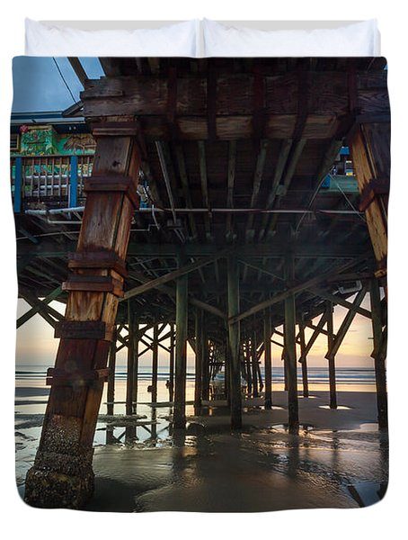 Daytona Beach Shores Pier Duvet Cover