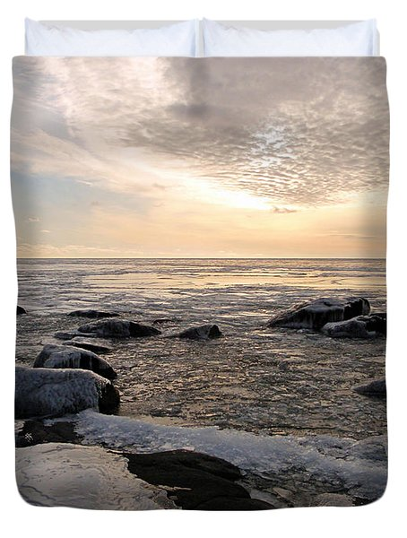 Dazzling Winter On Lake Superior Duvet Cover
