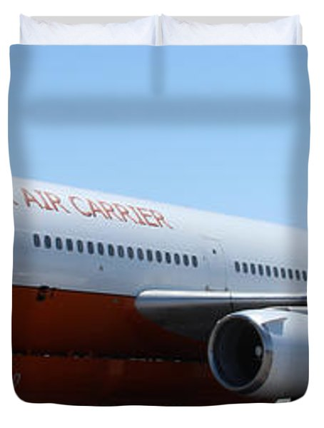 Duvet Cover featuring the photograph Dc-10 Air Tanker At Rapid City by Bill Gabbert
