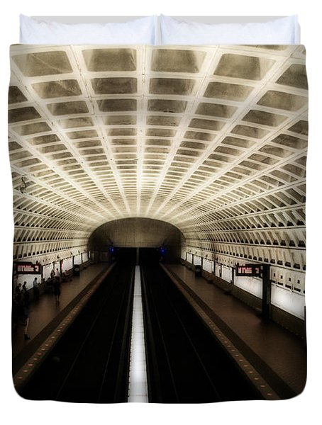 Duvet Cover featuring the photograph Dc Metro by Angela DeFrias