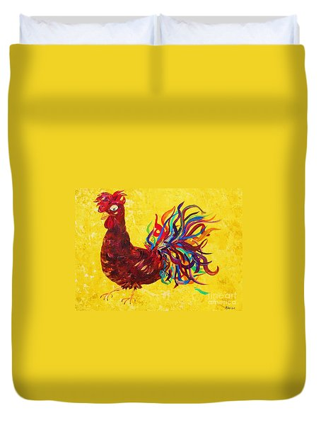 Duvet Cover featuring the painting De Colores Rooster by Eloise Schneider
