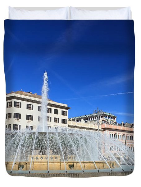 Duvet Cover featuring the photograph De Ferrari Square - Genova by Antonio Scarpi