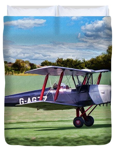 Duvet Cover featuring the digital art De Havilland Tiger Moth 2 by Paul Gulliver