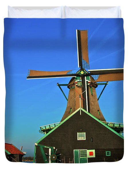 Duvet Cover featuring the photograph De Kat On De Zaan by Jonah  Anderson