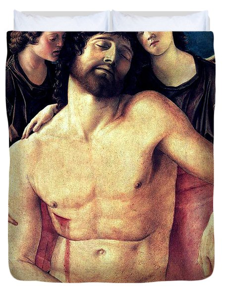 Dead Christ Supported By Angels 1485 Giovanni Bellini Duvet Cover by Karon Melillo DeVega