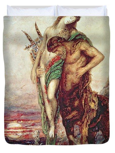 Dead Poet Borne By Centaur Duvet Cover by Gustave Moreau