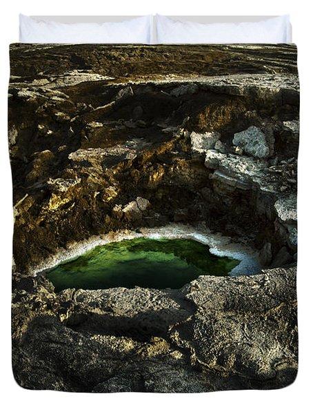 Dead Sea Sink Holes Duvet Cover by Dan Yeger
