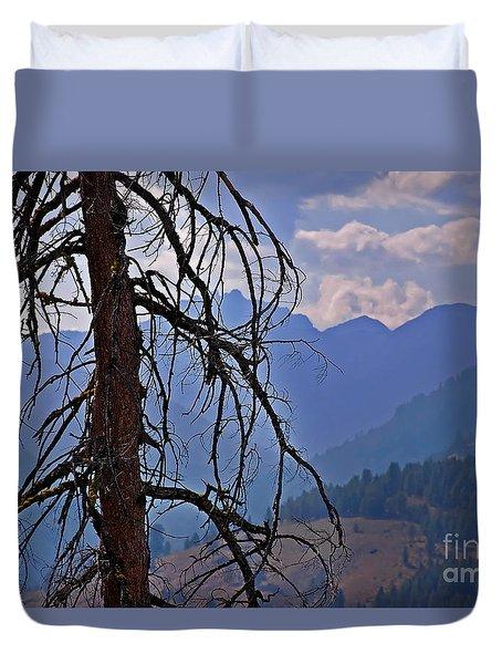 Dead Tree Mountains Landscape Duvet Cover by Valerie Garner
