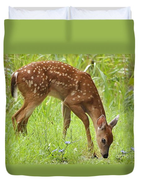 Duvet Cover featuring the photograph Little Fawn Blue Wildflowers by Nava Thompson