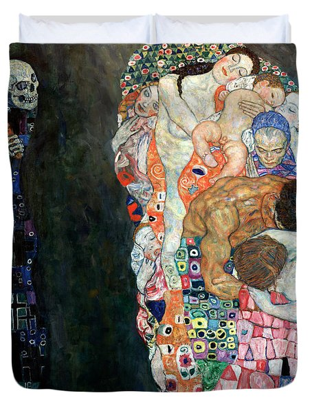 Death And Life Duvet Cover by Gustive Klimt