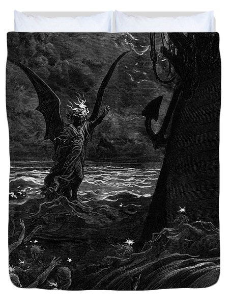 Death-fires Dancing Around The Becalmed Ship Duvet Cover by Gustave Dore