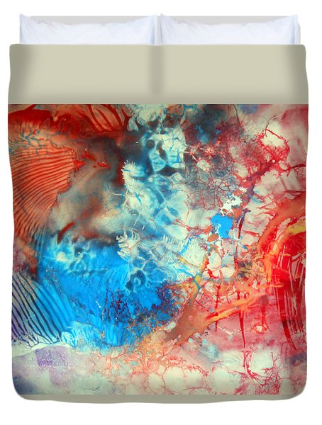 Duvet Cover featuring the painting Decalcomaniac Colorfield Abstraction Without Number by Otto Rapp