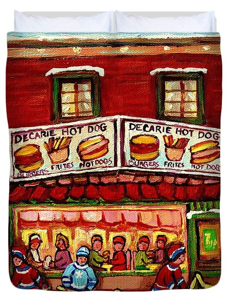 Decarie Hot Dog Restaurant Cosmix Comic Store Montreal Paintings Hockey Art Winter Scenes C Spandau Duvet Cover