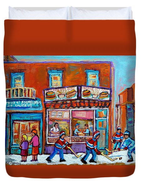 Decarie Hot Dog Restaurant Ville St. Laurent Montreal  Duvet Cover by Carole Spandau