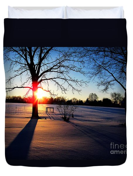 Duvet Cover featuring the photograph December 16 2013 Sunrise Two by Tina M Wenger