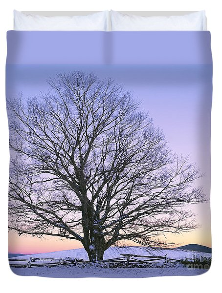 Duvet Cover featuring the photograph December Twilight by Alan L Graham