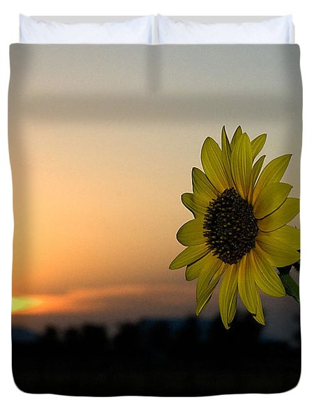 Duvet Cover featuring the photograph Sunflower And Sunset by Mae Wertz
