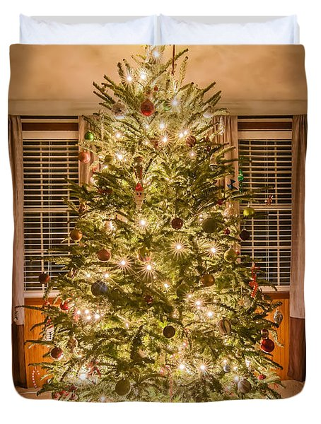 Duvet Cover featuring the photograph Decorated Christmas Tree by Alex Grichenko