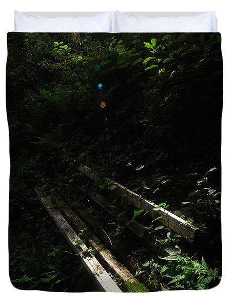 Duvet Cover featuring the photograph Deep In The Woods by Andy Prendy
