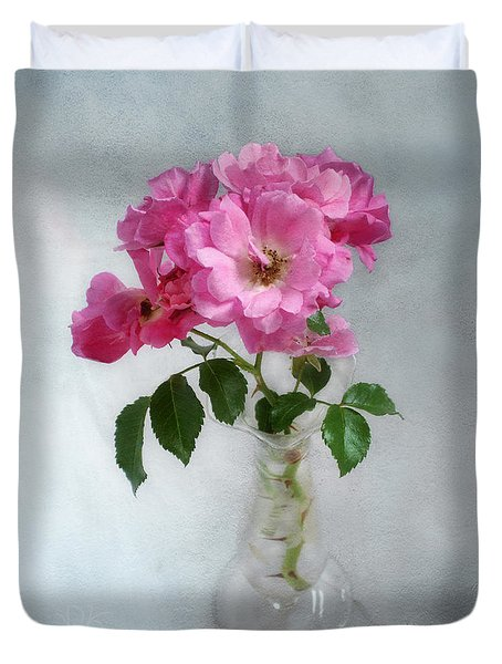 Duvet Cover featuring the photograph Fragrant Deep Pink Roses In A Clear Glass Vase Still Life by Louise Kumpf