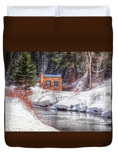 Deep Snow In Spearfish Canyon Duvet Cover