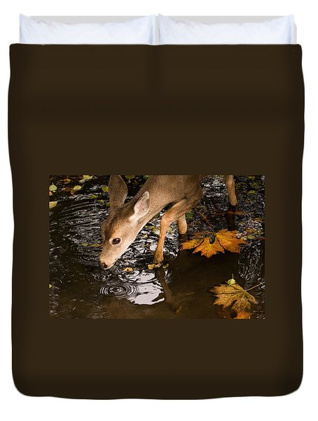 Deer Fawn Bobbing For Apples Duvet Cover