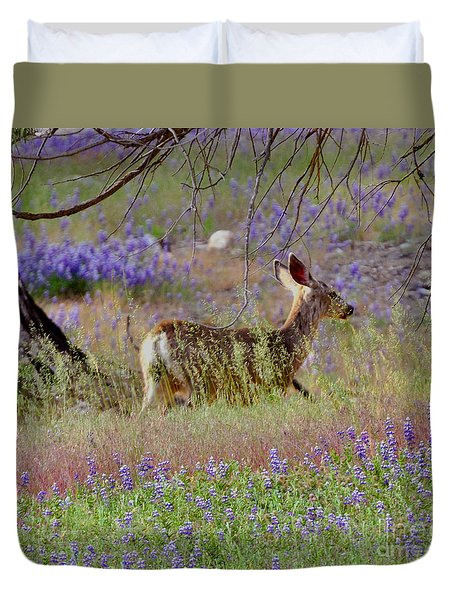 Deer In The Meadow Duvet Cover by Debby Pueschel