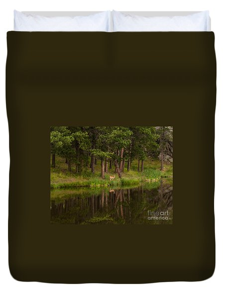 Deer In The Mist Duvet Cover