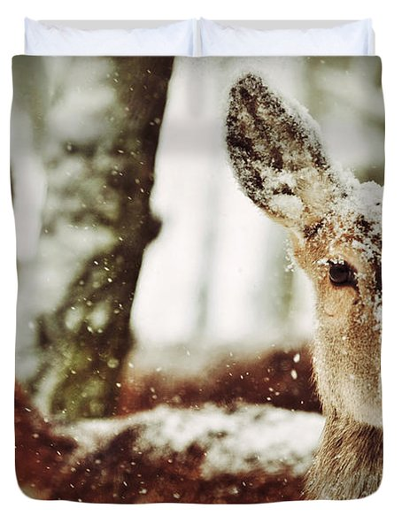 Deer In The Snow Duvet Cover