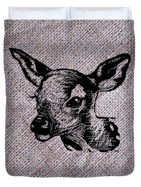 Deer On Burlap Duvet Cover