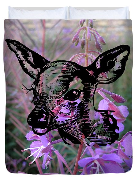 Deer On Flower Duvet Cover