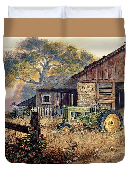 Duvet Cover featuring the painting Deere Country by Michael Humphries