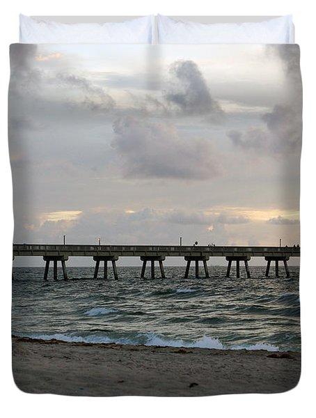 Duvet Cover featuring the photograph Deerfield Beach International Fishing Pier Sunrise by Rafael Salazar