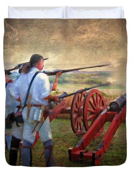Defending Bemis Heights 1777 Duvet Cover by Lianne Schneider