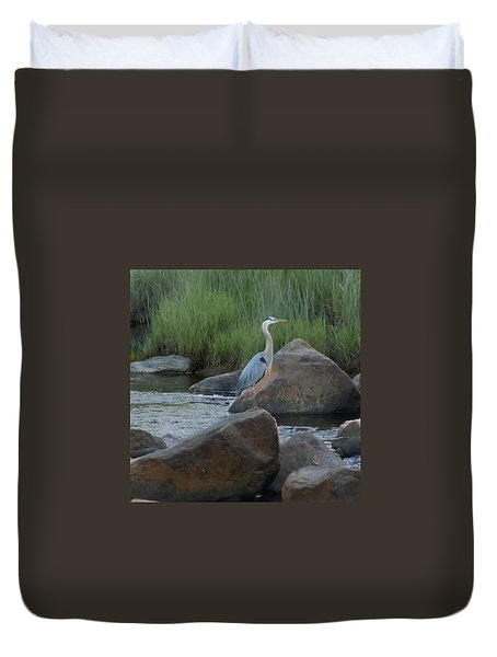 Duvet Cover featuring the photograph Definitely Blue Heron by Francine Frank