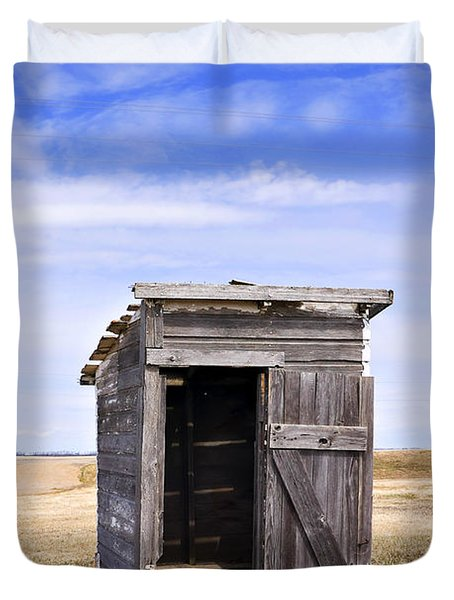 Defunct Outhouse At Rural Elementary School Duvet Cover
