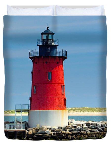 Delaware Breakwater Lighthouse Duvet Cover by Nick Zelinsky