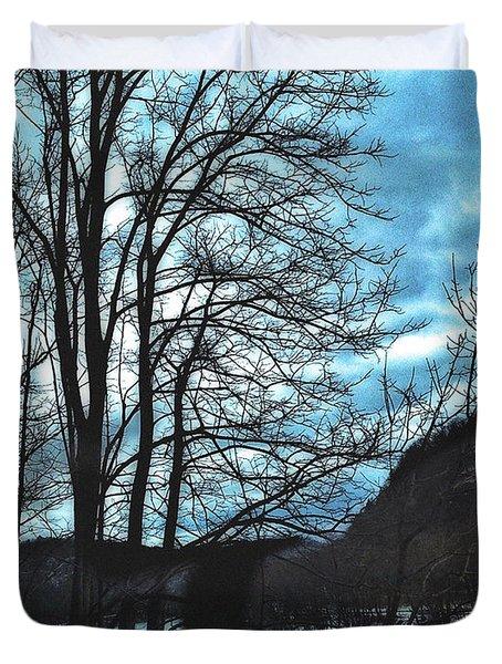 Delaware River Winter Blues Duvet Cover